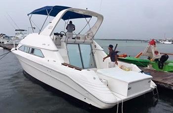 Renta de yates en Cancún Sea Ray de 38 pies Cozumel, Playa del Carmen Puerto Morelos Isla Mujeres Tour de Snorkel Despedida de soltera sea ray 38 pies