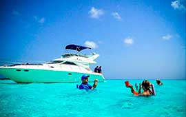 Renta de yates en Cancun, tour de snorkel, El Cielo, Cozumel, yate sea ray de 40 pies, de lujo