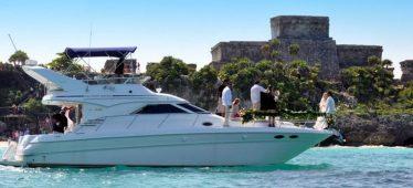 Renta de yates en Cancun, tour de snorkel, tulum, ruinas, mayas, yate sea ray de 40 pies, privado, puerto aventuras