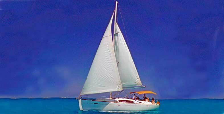 Renta de yates en Cancun, Renta de Velereo jeanneau de 42 pies, velero, cancun, isla mujeres, charter privado